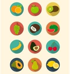 Fruits icons set modern flat design Healthy vector