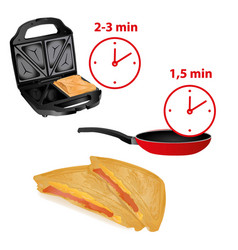 frying pan sandwich toaster and minute heat-up vector image
