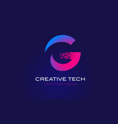 G initial letter logo design with digital pixels vector