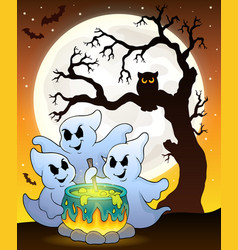 Ghosts stirring potion theme image 6 vector