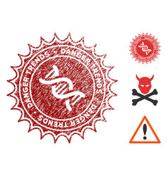 Gmo danger trends seal with scratched style vector