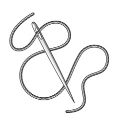 Green thread and needle eyesewing or tailoring vector