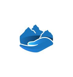 hand and mountain environmental care logo vector image