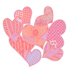 Hand drawn pattern of hearts ornate zentang vector image