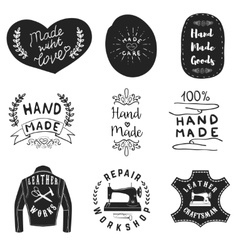 Handmade products labels Leather workshop emblems vector