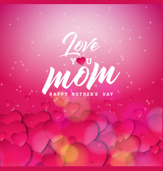 Happy mothers day greeting card design with heart vector