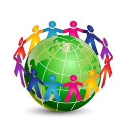 happy people around world logo vector image
