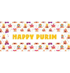 Happy purim carnival with funny hamantashen vector
