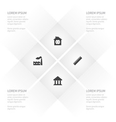 Icon construction set of edifice industry ruler vector