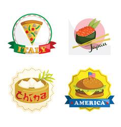International gourmet food icons vector