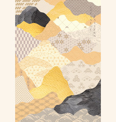 Japanese pattern with abstract background gold vector