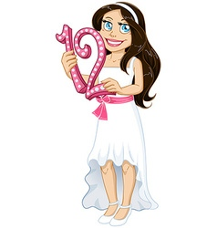 Jewish Girl Holds Number Twelve For Bat Mitzvah vector