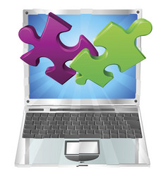 jigsaw puzzle pieces flying out of laptop computer vector image