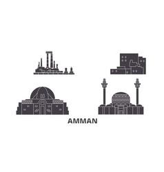 Jordan amman flat travel skyline set jordan vector