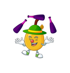 juggling loquat tropical fruit in cartoon mascot vector image