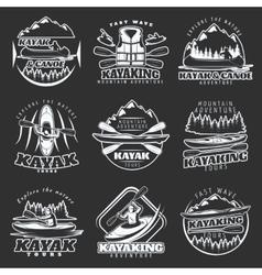 Kayaking Tours Emblem Set vector