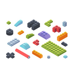 kids constructor isometric blocks set vector image
