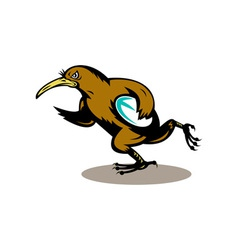 Kiwi bird rugby player running with ball vector image