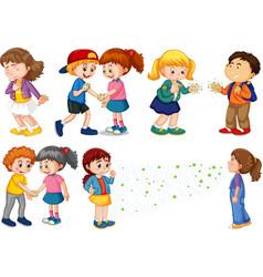 Large set children spreading virus from vector