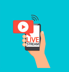 live stream via mobile phone vector image
