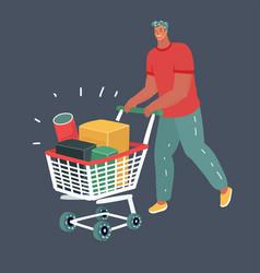 man pushing supermarket cart full boxes vector image