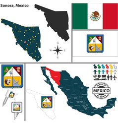 Map of Sonora vector image vector image