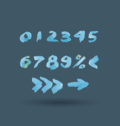 mathematics watercolor ink numbers set vector image