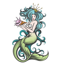 mermaid with a seashell in her hands vector image