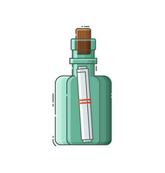 Message bottle with note vector