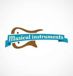 Musical logo Guitar silhouette with ribbon and vector image