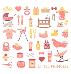 Newborn girl icons vector