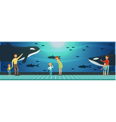 people visiting an oceanarium parents with vector image