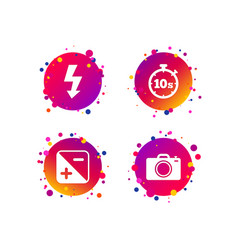 photo camera icon flash light and exposure vector image