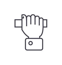 Pulling hand line icon sign vector