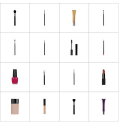 Realistic beauty accessory concealer brush and vector