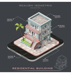 Realistic Isometric modern house infographic vector