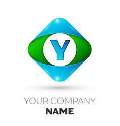 Realistic letter y logo in colorful rhombus vector