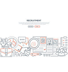 Recruitment - modern line design style web banner vector