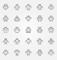 Robot icons set robots concept symbols or vector