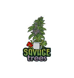 Savage cannabis tree logo vector