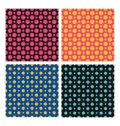 Seamless color dots patterns set vector image