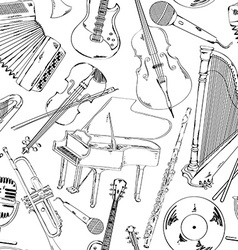 seamless pattern musical instruments vector image
