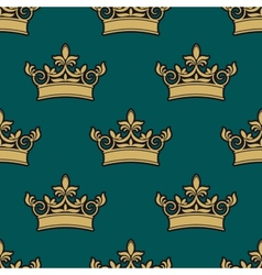 Seamless pattern of a golden crowns vector