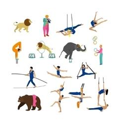 Set circus artists acrobats and animals vector