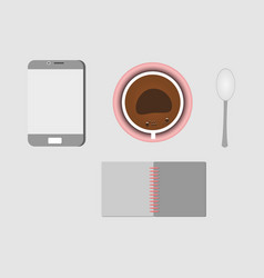 set coffee book and smartphone for business vector image