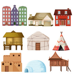Set of different house style vector