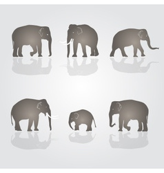 Set of simple elephants eps10 vector