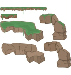Set of stones with a grass vector