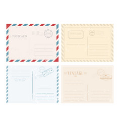 set postcards with stamps vector image