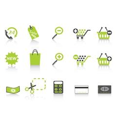shopping icon green series vector image vector image